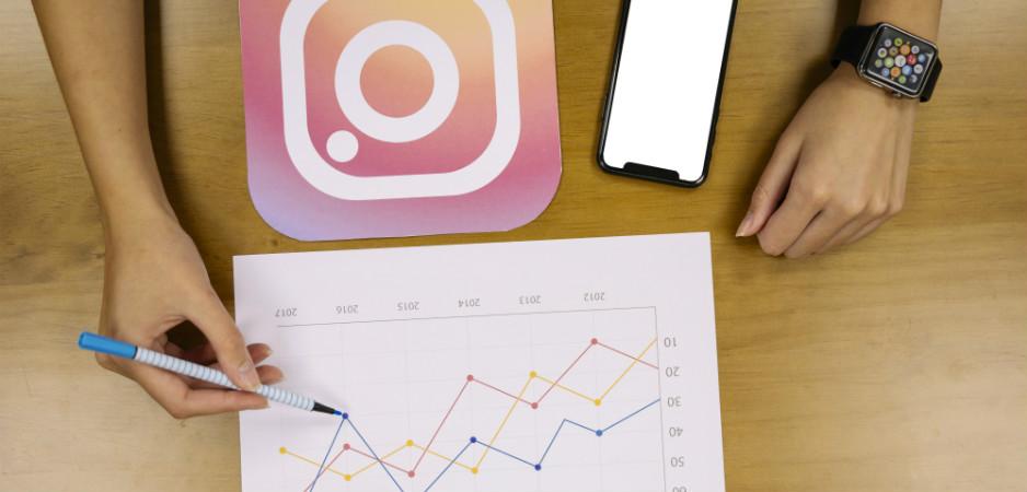 Bilde av instagrams logo, frager og hender som tegner på grafene